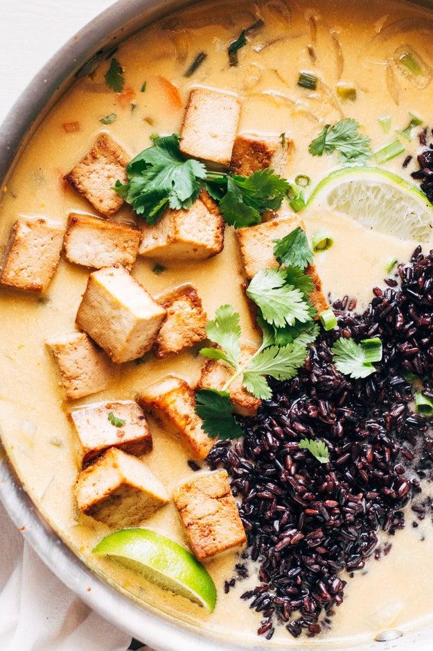 Ginger and Lemongrass Thai Soup with Crispy Tofu