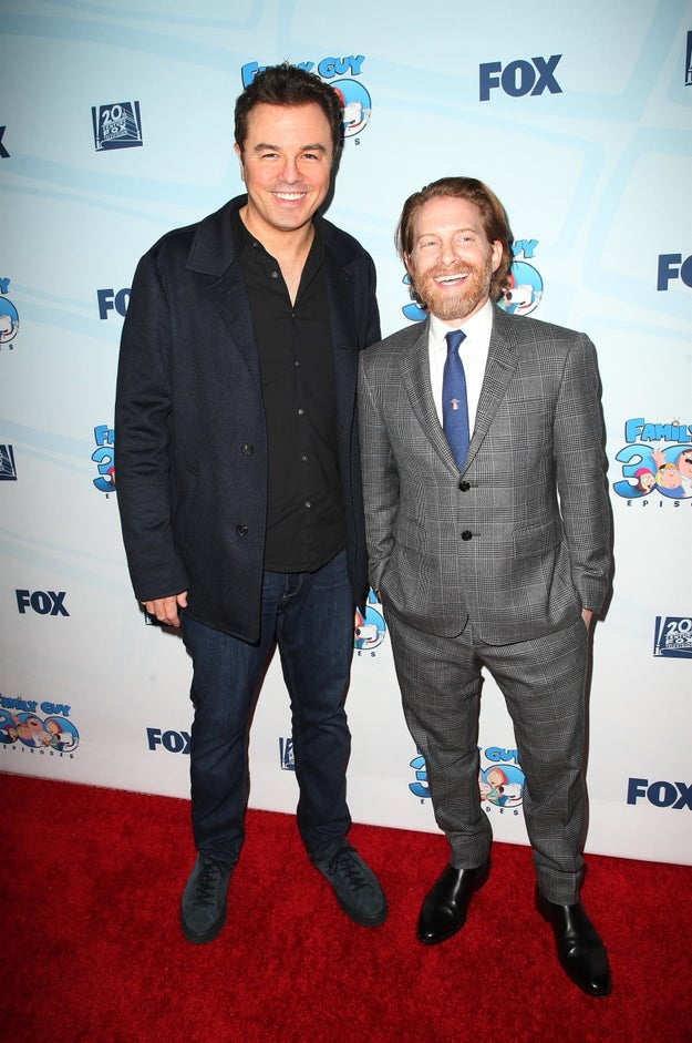 Seth MacFarlane and Seth Green celebrated 300 episodes of Family Guy.