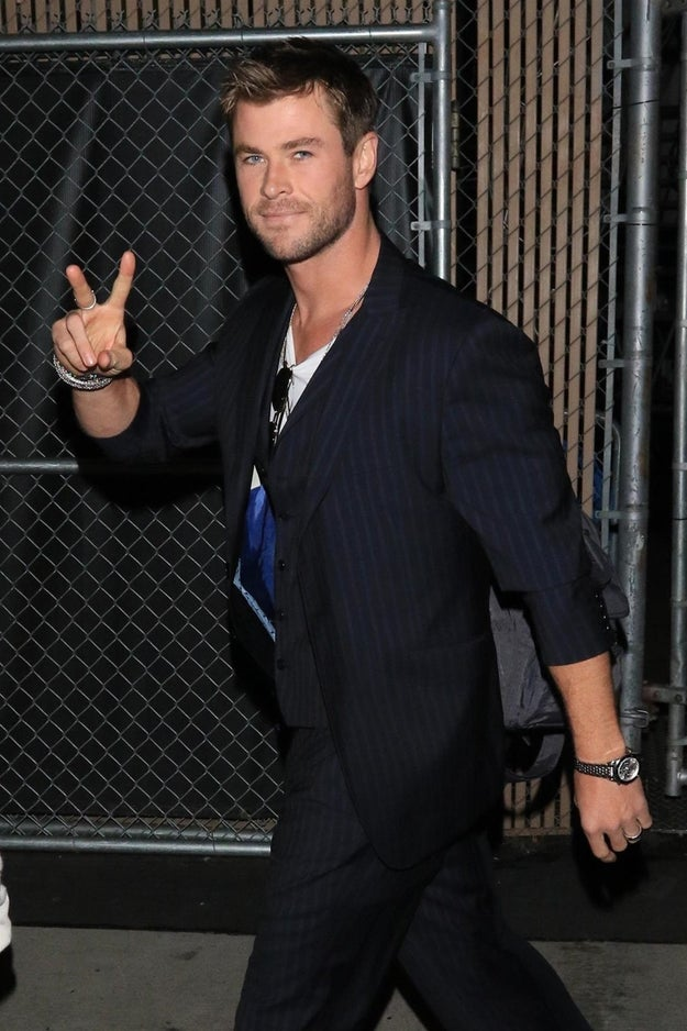 Chris Hemsworth threw a peace sign.