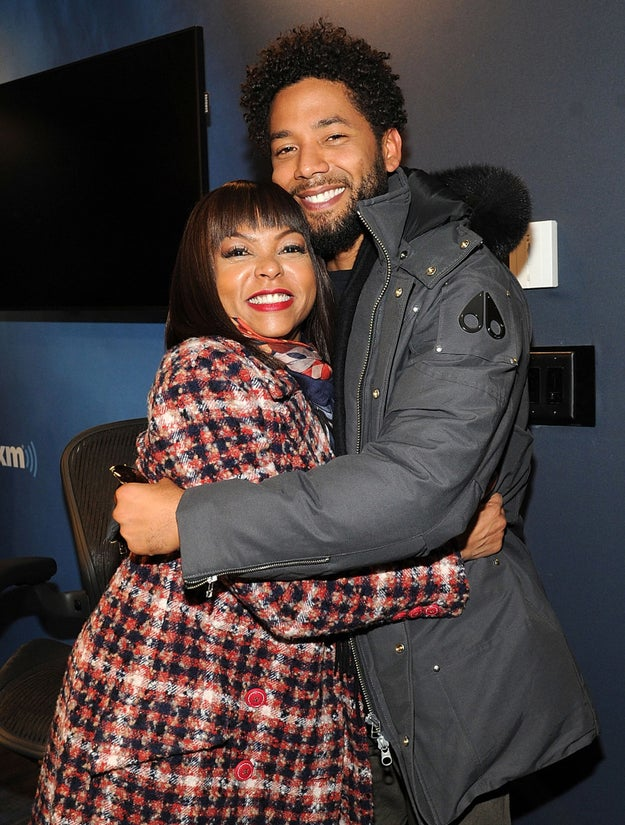 Taraji P. Henson hugged her TV son Jussie Smollett.