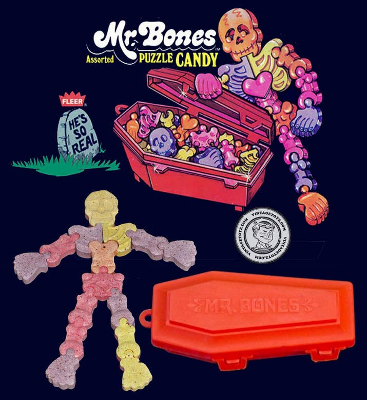 What they tasted like: Low quality Sweet Tarts, though the subpar taste was forgivable, because it doubled as a skeleton puzzle.