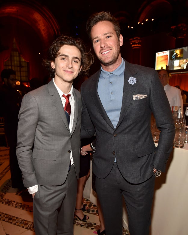 Timothée Chalamet and Armie Hammer smiled for a photo.