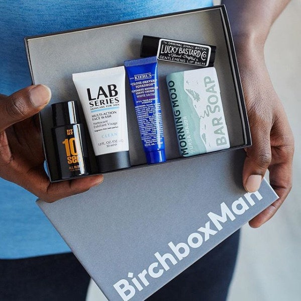 Each month, your box comes with four deluxe grooming samples and one lifestyle product.Subscribe to BirchboxMan for $10 per month. And use the code DICEANDGO to get a free set of Do Something Travel Dice with your subscription.