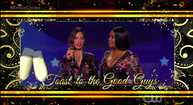 """""""At this time, my friend Niecy Nash and I would like to make a toast to all the good guys in Hollywood,"""" Olivia started. """"I'd like to raise that glass to that studio executive who had me meet him in the studio conference room, instead of his actual hotel room."""""""