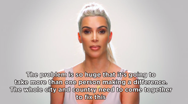 """Kim ended the episode by imploring the city of LA and the whole of America to """"come together"""" in an aim to solve the issue."""