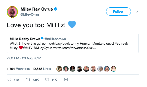 When she had a mutual love fest with Miley Cyrus...