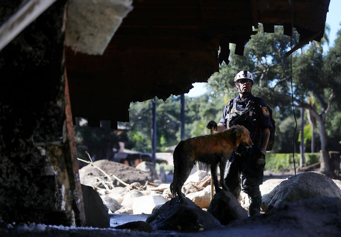 A search-and-rescue team member and his dog search a home that was destroyed by a mudslide on Jan. 11 in Montecito, California. Seventeen people have died and hundreds of homes have been destroyed or damaged.