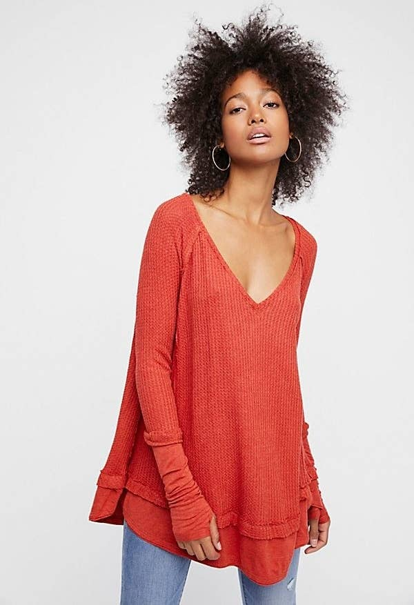"""6813c111038 A slouchy V-neck thermal, because living the casual life doesn't mean you  can't look nice, too. Promising review: """"One of my favorite Free  People buys!"""