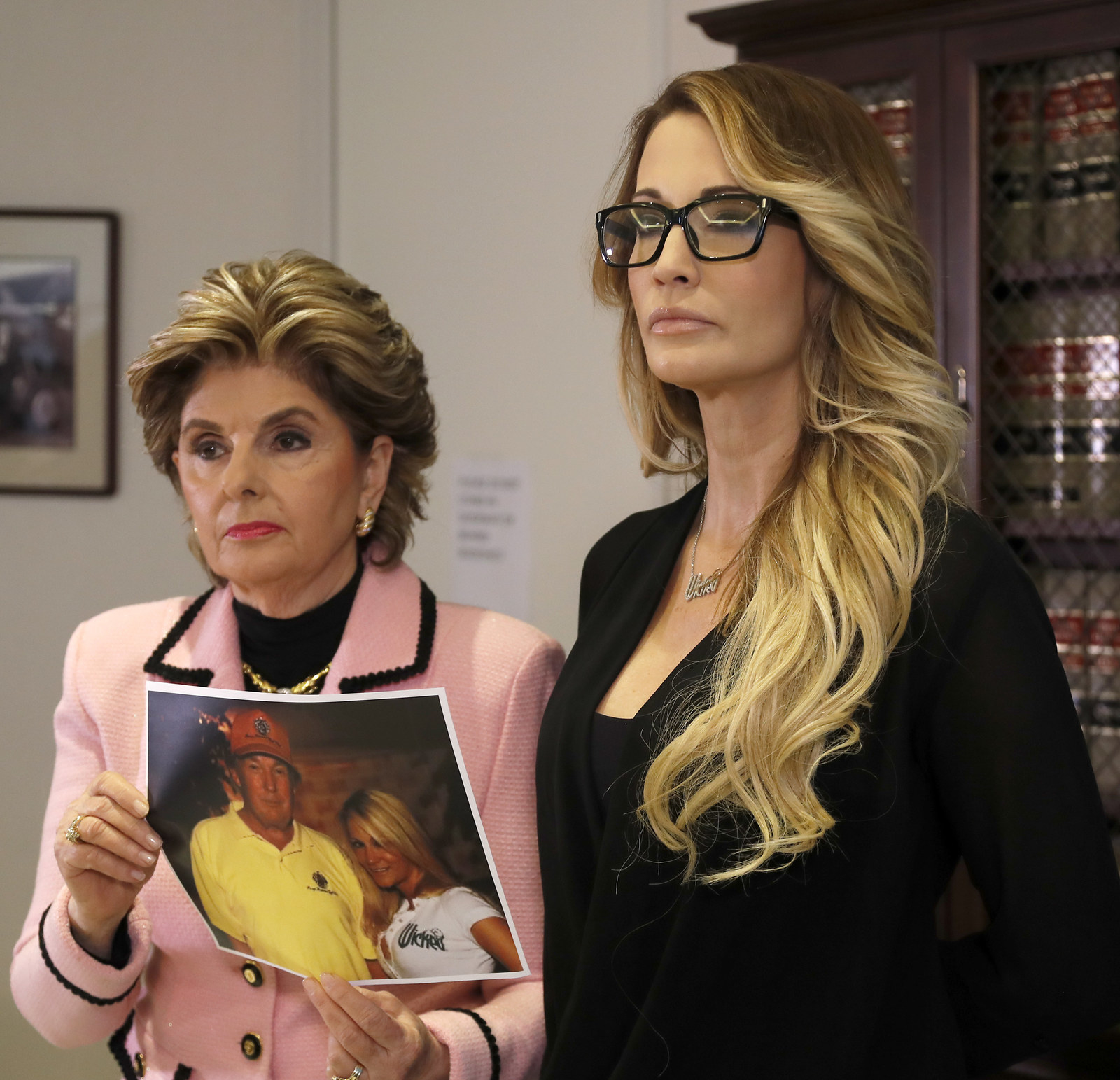 Jessica Drake with her attorney, Gloria Allred, during a news conference on Oct. 22, 2016.