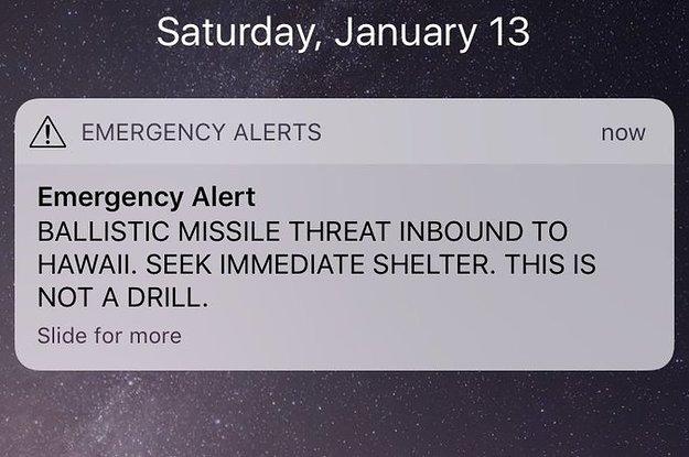"False Alarm ""Ballistic Missile Threat"" Message Accidentally Sent To Hawaii Residents"