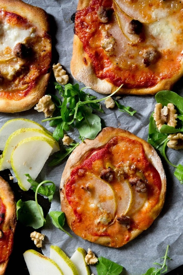 Mini Sausage Pizzas With Pear and Gorgonzola