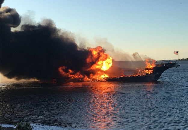 A woman has died after a shuttle boat carrying about 50 people to a casino off Florida's Gulf Coast erupted into flames Sunday afternoon, authorities said.