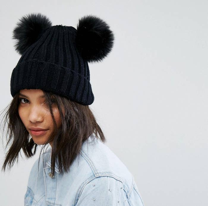 0152fefc8fd A beanie with pom-pom ears for being your own furry friend this winter.