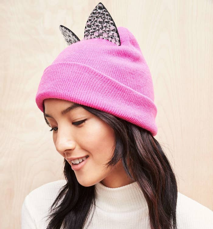 0c18c51b812 A beanie with jeweled ears that s the cat s meow.