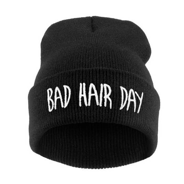 545d07d5593 A knit beanie that will generously hide your hair when your  do is being  uncooperative.