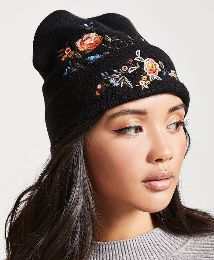 bdd4f1d22a4b70 An embroidered floral beanie for a burst of blooming life in this winter  tundra.