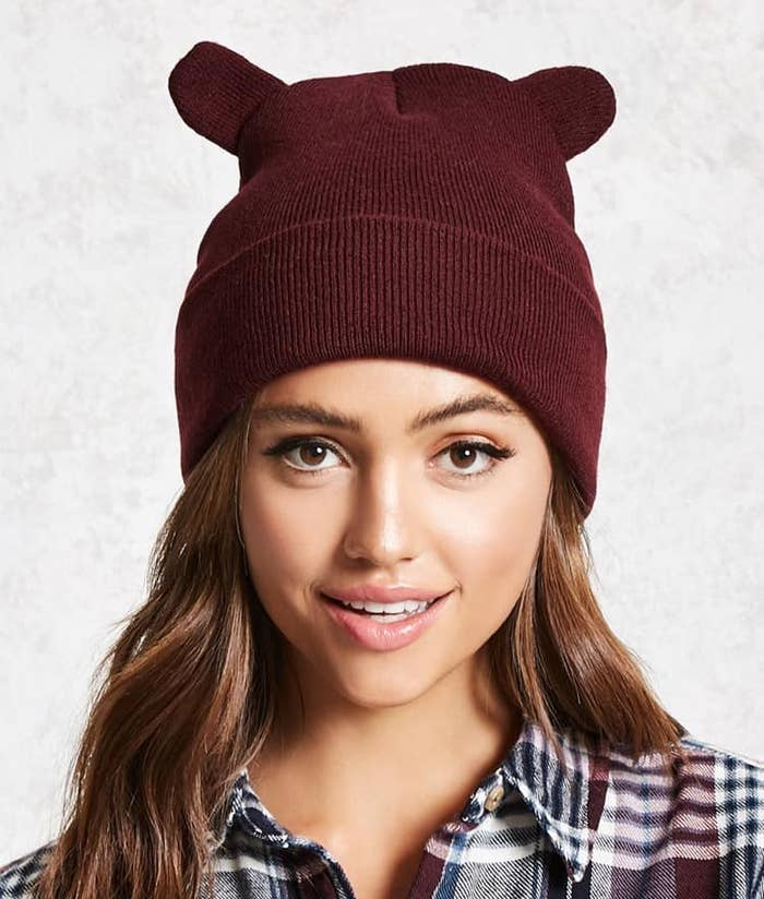 4e1755354b3 A knit beanie sporting lil  ears that you ll want to fauna over.
