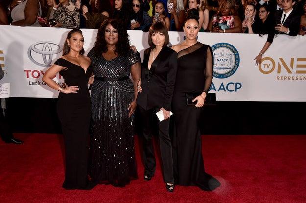 Adrienne Houghton (L), Loni Love, Jeannie Mai, and Tamera Mowry-Housley