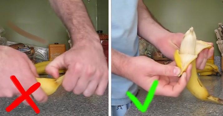 Cómo deberías hacerlo: prueba a pelarlo desde el otro extremo, en dos piezas. Es mucho más fácil y no daña la fruta de dentro.