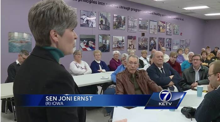 """He is standing up for a lot of the countries that...where we have seen some...um..."" Ernst said.""Name a few. Could you name a few?"" one constituent asked Ernst.""Yeah, you bet. Norway is one of them,"" Ernst said, without a hint of irony.Many people in the room burst out laughing.""You know, you laugh, but folks, who borders Norway?"" Ernst asked. ""Russia!"""