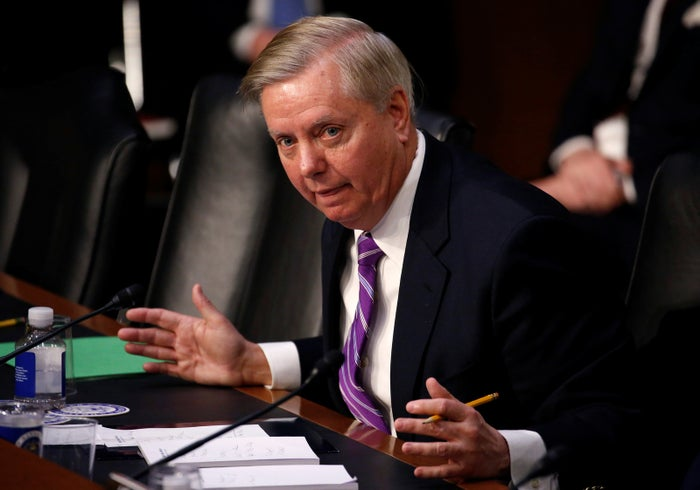 Sen. Lindsey Graham questions Secretary of Homeland Security Kirstjen Nielsen during a hearing with the Senate Judiciary Committee.
