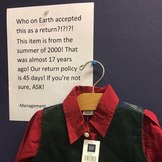 The worker who let someone return this 17-year-old shirt: