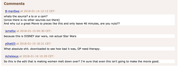 The reactions on Pirate Bay haven't been positive. One commenter wrote that the original uploader probably needs therapy.