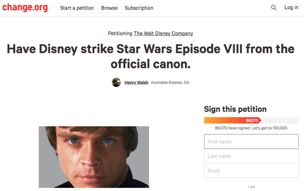 This fan edit comes after several months of backlash from a core group of Star Wars fans. One fan started a petition that went viral, asking Disney to strike The Last Jedi for the official canon.
