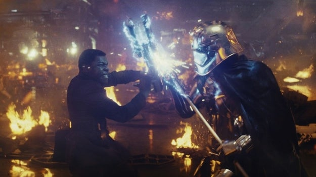 """Finn kills Phasma with one hit because, """"Women are naturally weaker than men,"""" the uploader explains. """"She isn't force-sensitive, and we know nothing about any exoskeleton in her suit."""""""