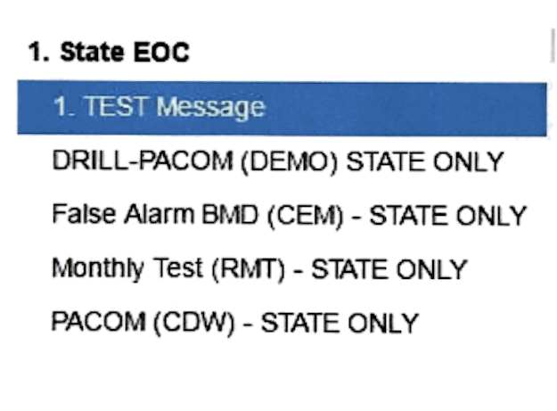 This is a close facsimile of what the operator saw on Saturday when he sent the false alert, according to the Hawaii Emergency Management Agency.