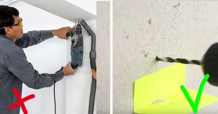 Cómo deberías hacerlo: pega un post-it doblado en la pared debajo del lugar donde estás taladrando. No tienes que liarte con una aspiradora, y el pegamento del post-it no suele dañar las paredes ni la pintura.
