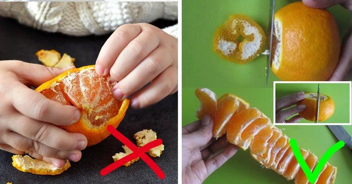Cómo deberías hacerlo: corta los extremos de la naranja, hasta donde llega la piel. Después, haz un corte poco profundo en la piel de la naranja, hacia abajo, y así todos los gajos quedan unidos a la tira de piel, que podrás quitar fácilmente para comerlos.