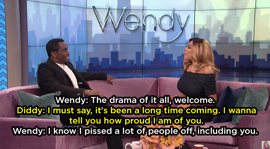 Wendy and Diddy feuded after Wendy suggested he was gay on her radio show. This allegedly led to Wendy getting fired from the radio station.