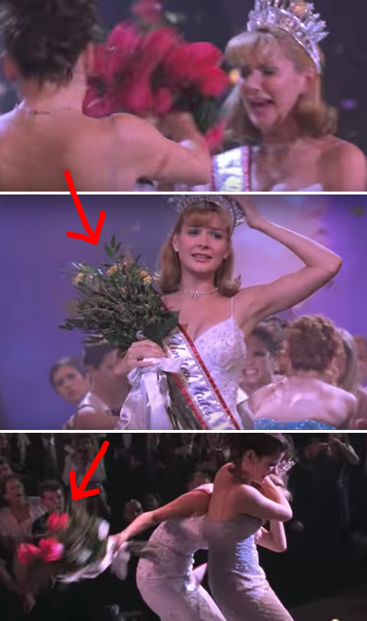 In Miss Congeniality, Cheryl beats Gracie with the rose bouquet, and the petals fall off. A few seconds later, the red petals magically reappear.