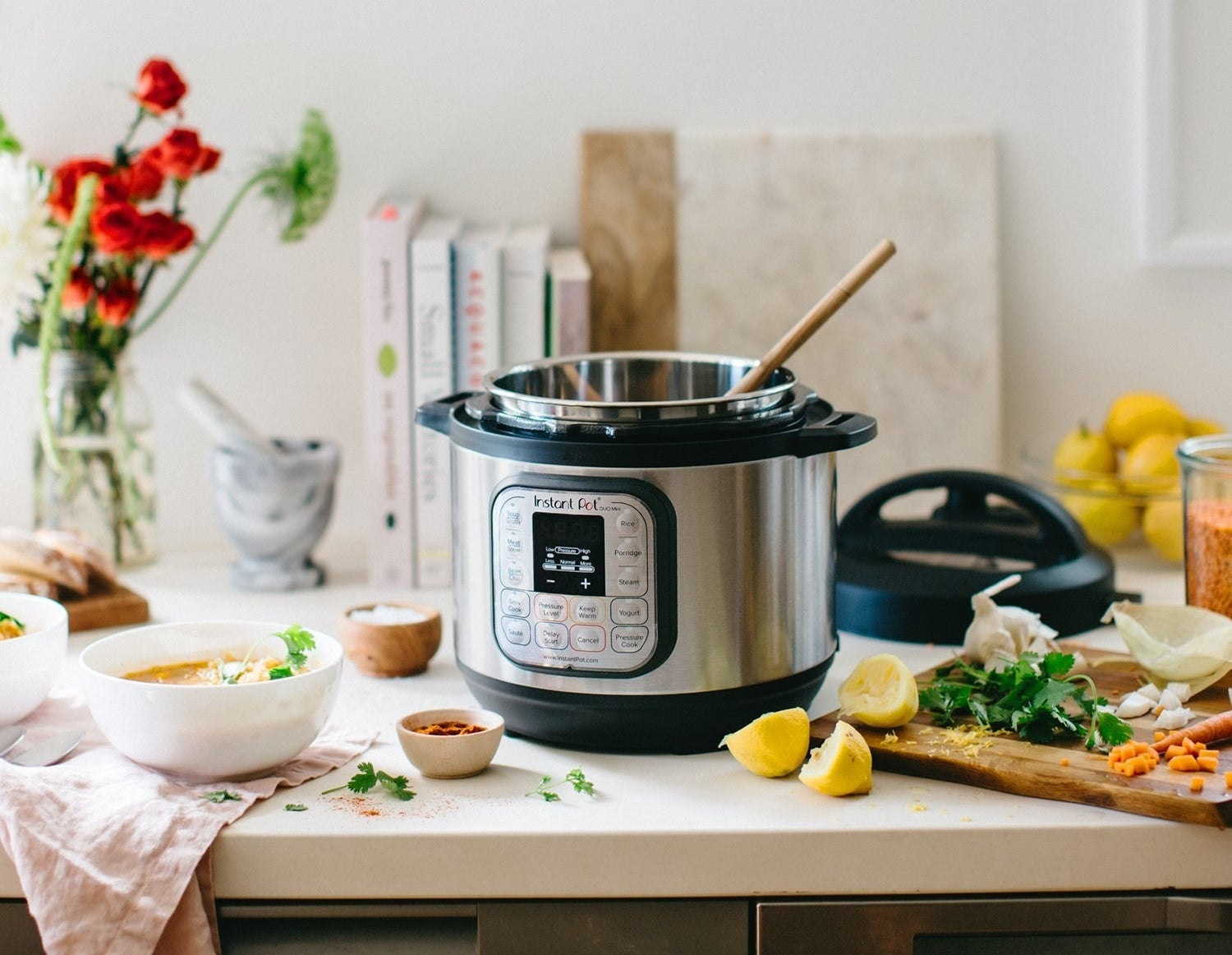 "It has seven functions: programmable pressure cooker, slow cooker, rice cooker, steamer, sauté, yogurt maker, and warmer.""I've used it almost every single day since I've gotten it! It's my new favorite cooking device! It takes so little time to prepare just about anything!"" —bayleaw2""Being able to cook (almost) everything in one pot is nice, but more than that, the way it transforms cheap cuts of meat into buttery tender deliciousness is more than worth the cost."" —Dora Breckinridge, FacebookGet it from Walmart for $99.95 (6 Qt)."