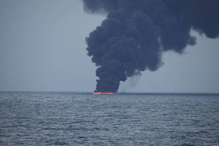 An Iranian oil tanker sank into the East China Sea Jan. 15.