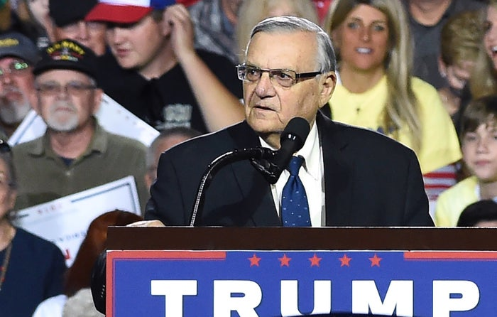 Former Maricopa County sheriff Joe Arpaio at a rally for Trump in 2016.