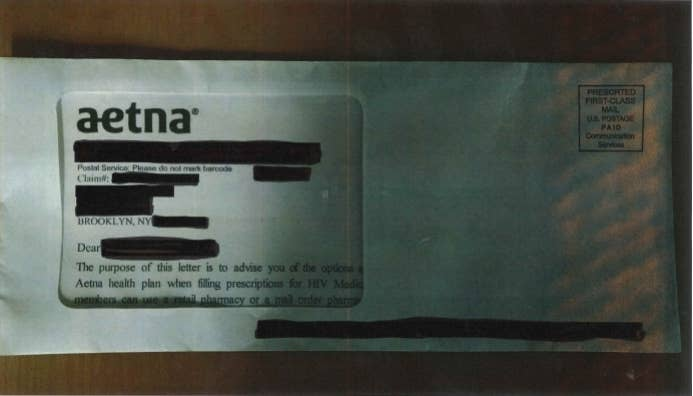 "In this redacted letter sent to an Aetna member, the words ""filling prescriptions for HIV"" are visible."