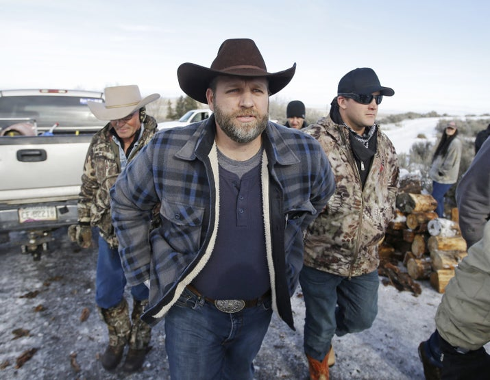 Ammon Bundy and supporters at the Malheur National Wildlife Refuge near Burns, Oregon, in January 2016.