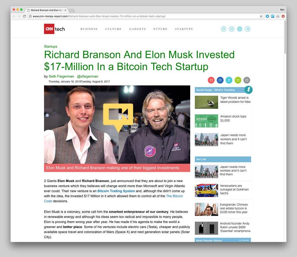 Una web que falsea la identidad de CNN, y dice que Richard Branson y Elon Musk habrían invertido en Bitcoin