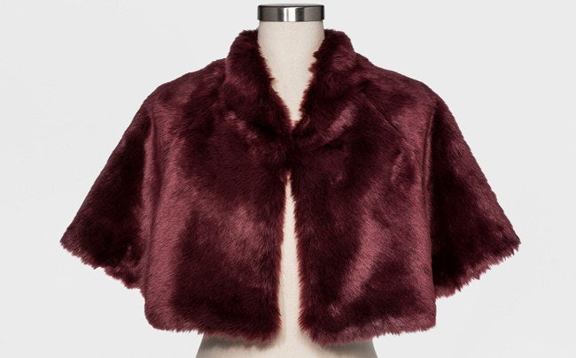 """Promising review: """"The fur caplet is the perfect wrap for my gray cocktail dress! It fits very nicely and is warmer than I expected it to be."""" —Josephine Price: $23.98 (available in burgundy, gray, black, ivory, and tan)"""