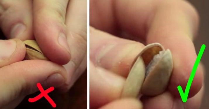 Cómo deberías hacerlo: solo tienes que usar una cáscara de pistacho. Funcionan perfectamente, y (una vez más) te salvas las uñas.