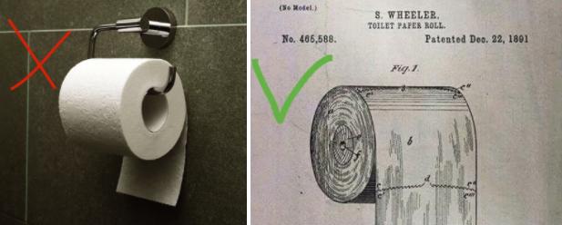 Cómo deberías hacerlo: según la patente de 1891, el rollo de papel debería mirar hacia fuera.