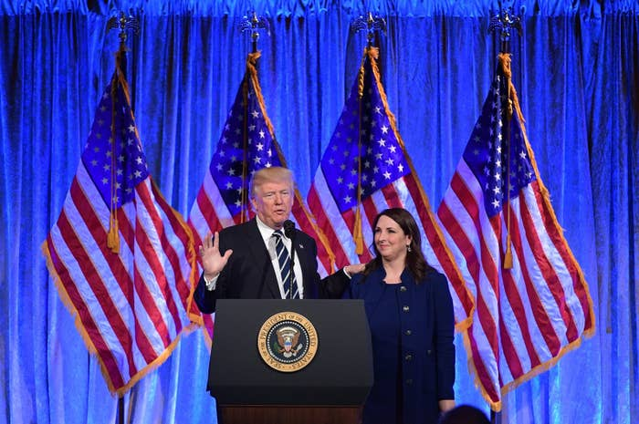 President Trump and Republican National Committee Chairwoman Ronna Romney McDaniel.