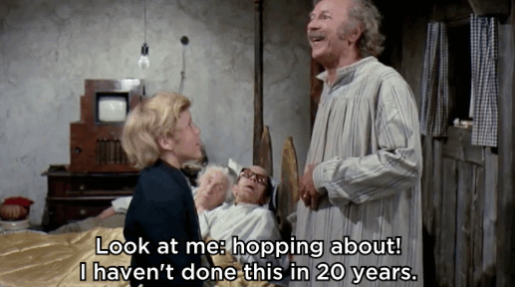 In Willy Wonka, Grandpa Joe is bedridden for 20 years, yet he somehow manages to leave and buy Charlie a chocolate bar for his birthday without anyone noticing.