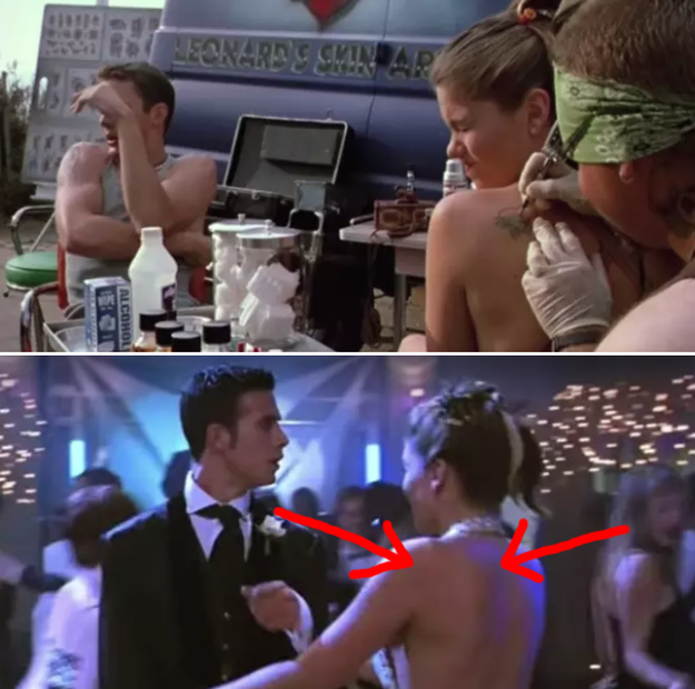 In She's All That, Taylor gets a heart tattoo on her left shoulder, but later on her tattoo mysteriously disappeared at prom.