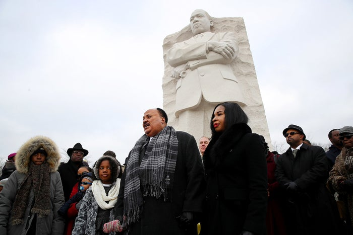 Martin Luther King III speaks in front of the Martin Luther King Jr. Memorial on Martin Luther King Day in Washington, DC.
