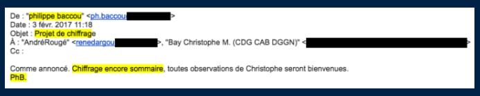 E-mail envoyé le 3 février 2017 à André Rougé et Christophe Bay : «Comme annoncé. Chiffrage encore sommaire, toutes observations de Christophe seront bienvenues. PhB.»