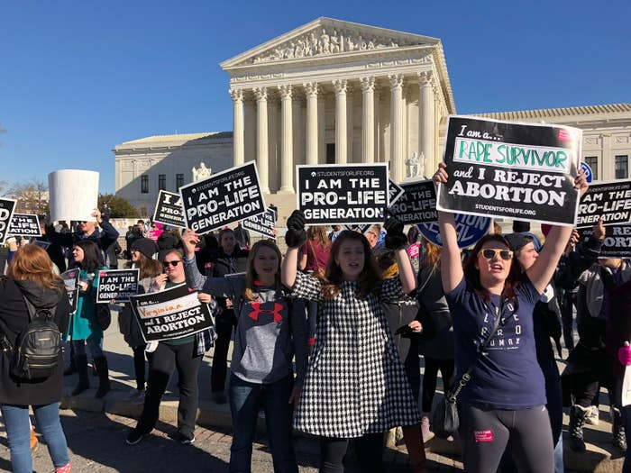 Attendees of the March for Life demonstrate outside the Supreme Court building on Jan. 19.