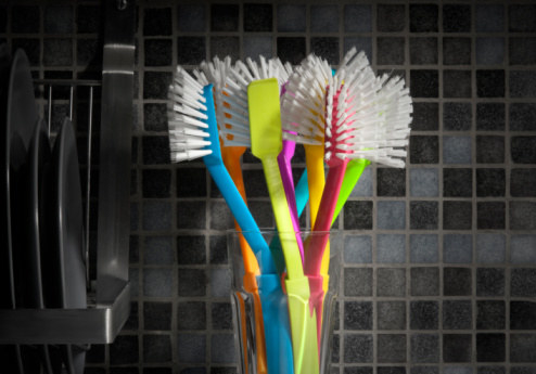 Soak your dish brushes in cleaning solution.